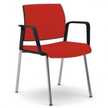 Sedia visitatore 4 gambe Unisit Kind KI4GNBR rivestimento  ignifugo rosso - con braccioli - KI4GNBR/IR