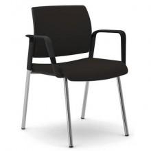 Sedia visitatore 4 gambe Unisit Kind KI4GNBR rivestimento similpelle nero - con braccioli - KI4GNBR/KN