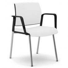 Sedia visitatore 4 gambe Unisit Kind KI4GNBR rivestimento pelle bianco - con braccioli - KI4GNBR/PQ
