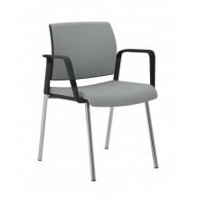 Sedia visitatore 4 gambe Unisit Kind KI4GNBR rivestimento pelle grigio - con braccioli - KI4GNBR/PT