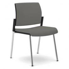 Sedia visitatore 4 gambe Unisit Kind KI4GTBB rivestimento pelle grigio - KI4GTBB/PT