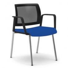 Sedia visitatore 4 gambe Unisit Kind KI4GTBR schienale in rete - rivestimento fili luce blu con braccioli KI4GTBR/F11