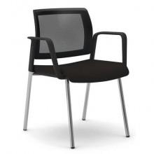 Sedia visitatore 4 gambe Unisit Kind KI4GTBR schienale in rete - rivestimento pelle nero - con braccioli KI4GTBR/PN