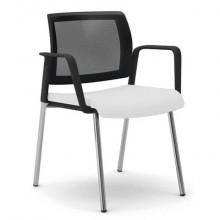 Sedia visitatore 4 gambe Unisit Kind KI4GTBR schienale in rete - rivestimento pelle bianco - con braccioli KI4GTBR/PQ