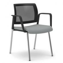Sedia visitatore 4 gambe Unisit Kind KI4GTBR schienale in rete - rivestimento pelle grigio - con braccioli KI4GTBR/PT