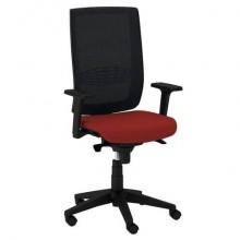 Sedia semidirezionale girevole Unisit Kind KIAN schienale in rete nero - rivestimento ignifugo rosso - KIAN/IR