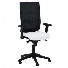 Sedia semidirezionale girevole Unisit Kind KIAN schienale in rete nero - rivestimento similpelle bianco - KIAN/KQ