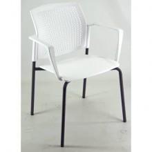 Sedia visitatore a 4 gambe Unisit Login LGSPBR - schienale in rete - PPL bianco con braccioli conf. 2 pezzi LGSPBR/2/BI