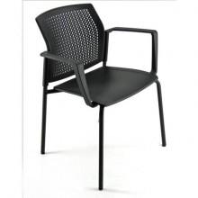 Sedia visitatore a 4 gambe Unisit Login LGSPBR - schienale in rete - PPL nero con braccioli conf. 2 pezzi LGSPBR/2/NE