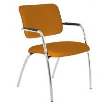 Sedia visitatore a 4 gambe Unisit Lithium LT4G struttura cromata - rivest. Eco arancione - LT4G/EA