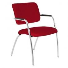 Sedia visitatore a 4 gambe Unisit Lithium LT4G struttura cromata - rivest. Eco rosso - LT4G/ER
