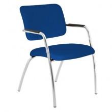Sedia visitatore a 4 gambe Unisit Lithium LT4G struttura cromata - rivest. ignifugo blu - LT4G/IB
