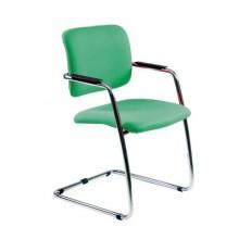 Sedia visitatore con slitta Unisit Lithium LTLT struttura cromata - rivest. Eco verde - impilabile LTLT/EV