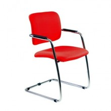 Sedia visitatore con slitta Unisit Lithium LTLT struttura cromata - rivest. ignifugo rosso - impilabile LTLT/IR
