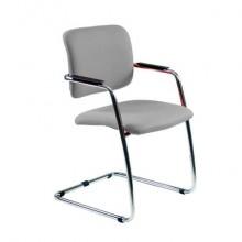 Sedia visitatore con slitta Unisit Lithium LTLT struttura cromata - rivest. similpelle grigio impilabile LTLT/KG