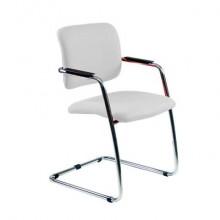 Sedia visitatore con slitta Unisit Lithium LTLT struttura cromata - rivest. pelle bianco - impilabile LTLT/PQ