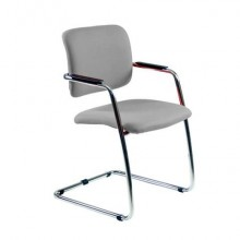 Sedia visitatore con slitta Unisit Lithium LTLT struttura cromata - rivest. pelle grigio - impilabile LTLT/PT