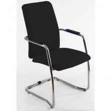Sedia visitatore con slitta Unisit Lithium LTLTA schienale alto - rivest. Eco nero - LTLTA/EN