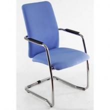 Sedia visitatore con slitta Unisit Lithium LTLTA schienale alto - rivest. ignifugo blu - LTLTA/IB