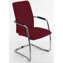 Sedia visitatore con slitta Unisit Lithium LTLTA schienale alto - rivest. ignifugo rosso - LTLTA/IR