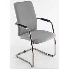 Sedia visitatore con slitta Unisit Lithium LTLTA schienale alto - rivest. pelle grigio - LTLTA/PT