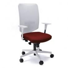 Sedia semidirezionale girevole Unisit Newair NWB - schienale rete bianco - rivestimento ignifugo rosso - NWB/IR