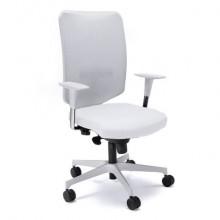 Sedia semidirezionale girevole Unisit Newair NWB - schienale rete bianco - rivestimento similpelle bianco - NWB/KQ