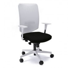 Sedia semidirezionale girevole Unisit Newair NWB - schienale rete bianco - rivestimento pelle nero - NWB/PN