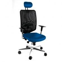 Sedia semidirezionale girevole Unisit Newair NWNAP con poggiatesta schienale alto nero - riv. fili luce blu NWNAP/F11