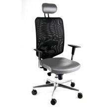 Sedia semidirezionale girevole Unisit Newair NWNP con poggiatesta schienale basso nero riv. similpelle grigio WNP/KG