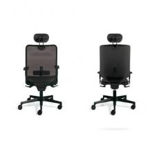 Sedia semidirezionale girevole Unisit Newair NWNP con poggiatesta schienale basso nero - riv. pelle bianco - NWNP/PQ