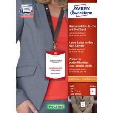 Kit portababdge Avery A6 completo di inserti e laccetti con gancio Conf. 10 pezzi - 4834
