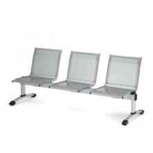 Panca 3 posti attesa Unisit Plexus PS3P in acciaio grigio - schienale e seduta forati traspiranti - PS3P