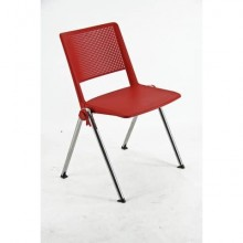 Sedia visitatore a 4 gambe Unisit Revolution RECP - schienale rigido rete PPL rosso - conf. 2 pezzi - RECP/2/RO