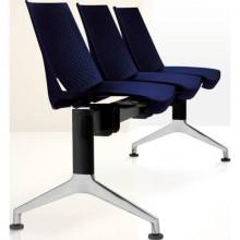 Panca 3 posti attesa Unisit Strike SK3PT con tavolino - schienale fisso - PPL blu - SK3PT/BL