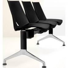 Panca 3 posti attesa Unisit Strike SK3PT con tavolino - schienale fisso - PPL nero - SK3PT/NE
