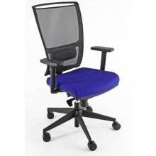 Sedia semidirezionale girevole Unisit Zoe ZOEA schienale in rete nero rivest. ignifugo blu - con braccioli ZOEA/BR/IB