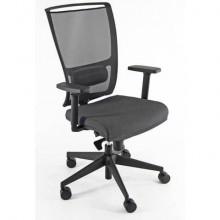 Sedia semidirezionale girevole Unisit Zoe ZOEA schienale in rete nero rivest. ignifugo grigio con braccioli ZOEA/BR/IT