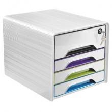 Cassettiera 4 cassetti CEP Smoove Secure 36x28,8x27,1 cm inserti colorati 1073110921