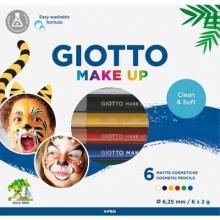 Set di 6 matite cosmetiche GIOTTO Make Up bianco, rosso, nero, giallo, verde, blu - conf. 6 pezzi - 474000