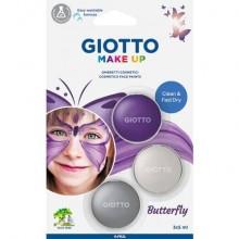 Tris ombretti cosmetici Giotto Make Up viola metallizzato, bianco metallizzato, argento - cf 3 pz - 475800