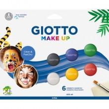 Set di 6 ombretti cosmetici GIOTTO Make Up bianco, rosso, nero, giallo, verde, blu 476200