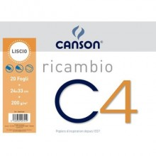 Ricambi Album da disegno Canson C4 liscio - 224 g/m² - 24x33 cm - 20 fogli C400052383