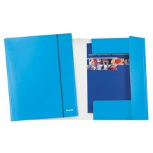 Cartelle a 3 lembi Leitz WoW plastificate con elastico 26,5x35 cm azzurro metallizzato - 39830036