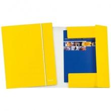 Cartelle a 3 lembi Leitz WoW plastificate con elastico 26,5x35 cm giallo metallizzato - 39830016