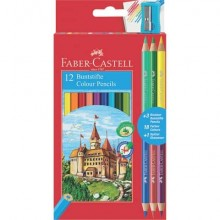 Matite colorate Faber-Castell Eco Il Castello Conf. 12 + 3 Bicolor - 110312