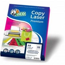 Etichette colorate fluorescenti senza margini TICO 210x297 mm verde 70 fogli - LP4FV-210297