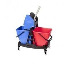 Kit Carrello Duo Bravo Rubbermaid +2 secchi 18 L + strizzatore rosso/blu R015111
