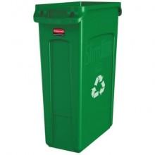 Contenitore rifiuti per differenziata Rubbermaid Slim Jim® con canali di ventilazione 87 L verde - FG354007GRN