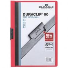 Cartellina con clip Durable DURACLIP® A4 - dorso 6 mm - capacità 60 fogli rosso - 220903